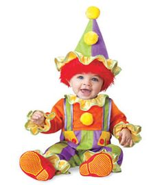 cuddly clown costume - your little one makes you laugh? likes to act silly? does a mean somersault? what could be cuter for a natural-born entertainer than this brightly colored jumpsuit with ruffle trim and pompoms.