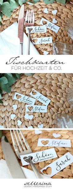Namensschilder & Tischkarten für euren großen Tag. Individuelles Design für Hochzeits- oder Geburstagstafeln. 10 Stk. ab 4,99 €