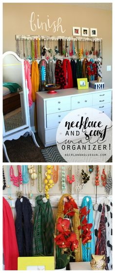 jewelry accessory wall --organize your necklace and scarf with hooks!