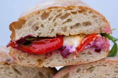 Proper Pickle Beetroot, Goats Cheese, Roasted Pepper and Ciabatta Sandwich by food Blogger Grubby Little Faces. www.englishprovender.com