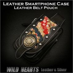 Leather iPhone6/6 Plus Smartphone Case Mini Waist Pouch Japanese design YUZEN WILD HEARTS Leather&Silver ( ID ic2408b46 )   http://item.rakuten.co.jp/auc-wildhearts/ic2408b46/