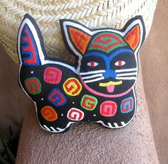 Fabulous Mola Cat  ON SALE  Lavender Filled   Kuna by molamama, $24.50
