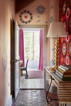 The French Country Home of Textiles Dealer Susan Deliss, suzani walls