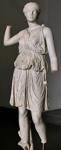 Ancient roman statue of a yung girl in the dress of Artemis, 60-79 A.D.