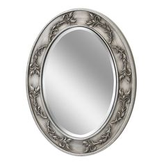 Classic Scroll Oval Antique Nickel Wall Mirror (1051)