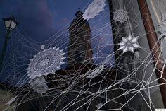 Polish street artist NeSpoon's lace installation https://www.behance.net/nespoon