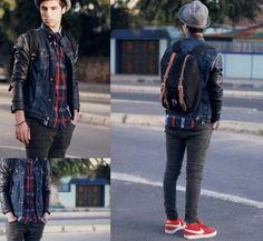 Teen boys fashion, full ensemble casual look, modern style.