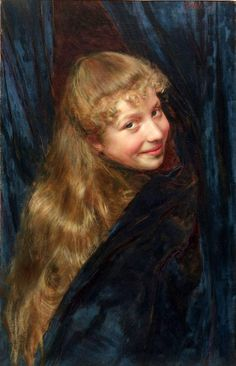"""Nascondino - Hide and Seek"" - Gaetano Bellei (Italian, 1857–1922), oil on canvas {blonde-hair smiling girl artwork female face portrait painting #arthistory} Mischievious !!"