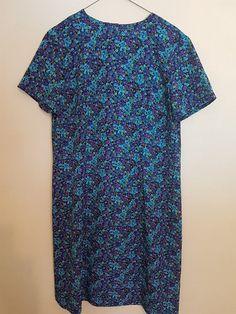 Vintage 1980's blue and purple paisley shift dress
