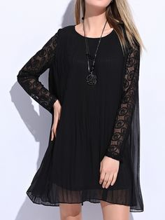 Black Sheer Lace Long Sleeve Pleated Chiffon Dress