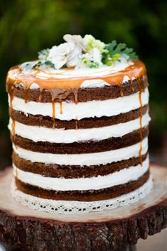 Naked wedding cake no fondant wedding cakes are the trend this year but you could use this cake for any occasion. It is apple spice cake layers with Cinnamon cream filling, topped with a caramel drizzle. You could use any cake flavors for this. Beautiful. Naked Wedding cake ..................      #wedding #cake