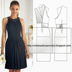 Inspiration for me to use when I'm exploring flat pattern drafting.DIY Women's Clothing : moldesedicasmoda….Mod@ en Line with bodice and waist pleatingFashion molds for Measure Diy Clothing, Sewing Clothes, Clothing Patterns, Dress Patterns, Sewing Patterns, Fashion Sewing, Diy Fashion, Ideias Fashion, Diy Dress