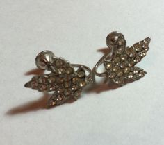 Vintage Macasite Rhinestone Leaf Earrings Silver BM