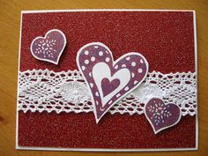 Valentine Card with lace ribbon