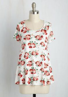Future Florist Top in Ivory - Multi, Ivory, Floral, Casual, Boho, Short Sleeves, Summer, Good, Variation, Crew, Knit, Mid-length, White