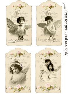 Vintage angels tags Digital collage Free for personal use Vintage Tags, Etiquette Vintage, Decoupage Printables, Card Sentiments, Gift Tags Printable, Vintage Christmas Cards, Free Prints, Digital Collage, Vintage Pictures