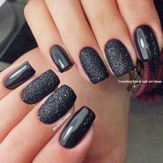 33 Black Glitter Nails Designs That Are More Glam Than Goth Black glitter nails designs do not lose their popularity. We have created a photo gallery where you can find glam nail art ideas in black. Glam Nails, Classy Nails, Simple Nails, Trendy Nails, Diy Nails, Black Nail Designs, Toe Nail Designs, Acrylic Nail Designs, Black Nails With Glitter