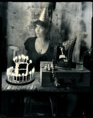 """Lauren E. Simonutti, Birthday Girl, 2008 From the 8 Rooms 7 Mirrors 6 Clocks 2 Minds and 199 Panes of Glass series 5 x 4"""" toned gelatin silver contact print"""