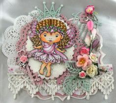 Card with Rose Faerie Marci by Jenny - from La-La Land Crafts blog.