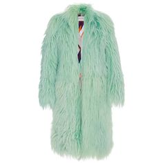 Emilio Pucci Long Pastel Fur Coat (154.118.270 IDR) ❤ liked on Polyvore featuring outerwear, coats, fur, green, green coat, green fur coat, fur shawl collar coat, long fur coat and oversized coat