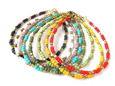 Bohemian Jewelry Dainty Seed Bead Bracelet - Set of 2 Colors of Your Choice - Boho Jewelry Ethnic Jewelry Tribal Jewelry Stackable Bracelet Friendship Bracelets With Beads, Tribal Bracelets, Dainty Bracelets, Seed Bead Bracelets, Bead Earrings, Bracelet Set, Seed Beads, Tribal Jewelry, Bohemian Jewelry