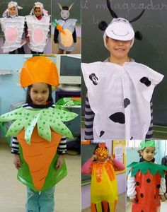 Disfraces con bolsas de plástico | Manualidades Infantiles Handmade Halloween Costumes, Diy Costumes, Costume Ideas, Vegetable Costumes, Fruit Costumes, Carnival Fantasy, Little Girl Costumes, Carnival Crafts, Recycled Dress
