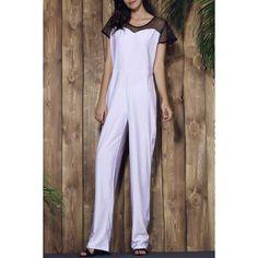 Stylish Gauze Spliced High Waist Bodycon Plus Size Jumpsuit For Women