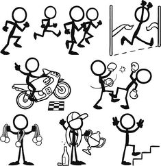Stick Figure People Victory royalty-free stick figure people victory stock vector art & more images of celebration Doodle Sketch, Doodle Drawings, Doodle Art, Easy Drawings, Tattoo Painting, Painting & Drawing, Doodle People, Stick Figure Drawing, Human Drawing