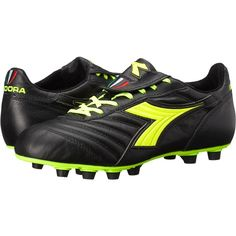 Diadora Brasil S.P.A. (Black/Yellow Fluorescent) Men's Soccer Shoes (545 BRL) ❤ liked on Polyvore featuring men's fashion, men's shoes, black, diadora men's shoes, neon yellow mens shoes, mens black lace up shoes, mens black shoes and yellow mens shoes