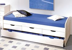 There are various kinds of single bed designs and a good and comfortable bed can make you sleep in a better way. Here you can find multiple single bed design for your bedroom. Bed With Drawers Single, Single Beds With Storage, Trundle Bed With Storage, King Storage Bed, Bedroom Storage, Trundle Beds, Blue Bedding, Bedding Sets, Bedding Decor