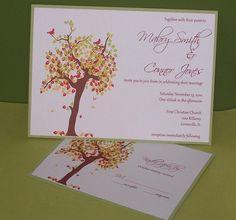 Wedding Invitation Fall Tree Autumn SAMPLE by rah4mu on Etsy, $3.00