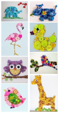 Very creative animal button art for childrens craft ideas