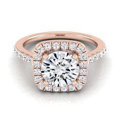 14k Rose Gold 1 1/2ct TDW Round Diamond Square Halo Engagement Ring (H-I, VS1-VS2) (Size - 5.5), Women's