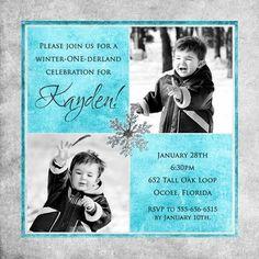 Winter One-derland Birthday Invitation - Two Photo Snowflake
