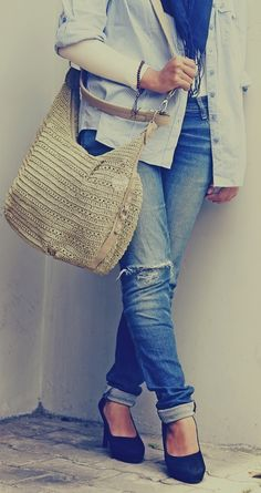 denim jeans with stripe shirt #fashion