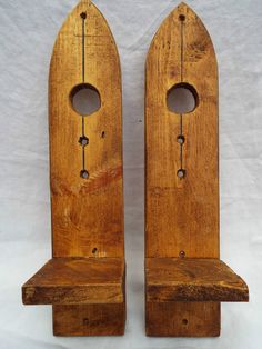 Hand Crafted Pair of Reclaimed Pine Wooden Wall Candle Sconces 40cm long | eBay