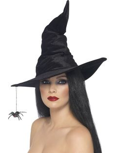 Smiffys Witch Hat Black Spider Magic Velour Halloween Costume Accessory 24146 for sale online Soirée Halloween, Scary Halloween Decorations, Halloween Fancy Dress, Halloween Costumes, Witches Costumes For Women, Witch Costumes, Witch Hats, Diy Witch Hat, Fancy Dress Hats