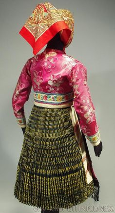 Woman's folk costume from Vazec Slovakia heavy pleated