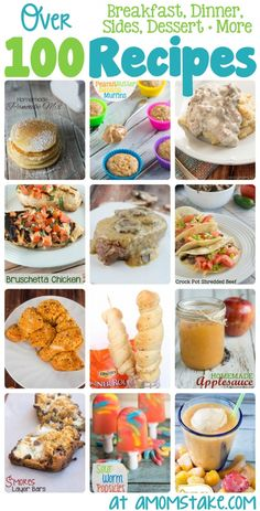 Over 100 Recipes for breakfast, lunch, dinner, dessert and more! Breakfast For Dinner, Dinner Dessert, Breakfast Recipes, Dessert Recipes, Desserts, Kids Meals, Easy Meals, Sweet Recipes, Easy Recipes