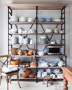 Pipe and board shelves - very industrial chic!