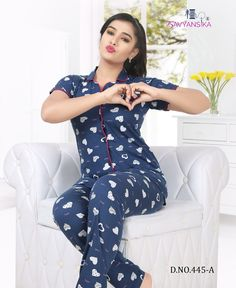 Kavyansika Front Button vol 445 fancy night suit collection surat BOOK CATALOGUE Kavyansika Front Button vol 445 fancy night suit collection surat ON KAPDAVI. Fancy Kurti, Fancy Sarees, Fashion Poses, Fashion Dresses, Night Suit For Women, Fancy Gowns, Lehenga Style, Printed Gowns, Pakistani Girl