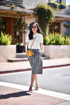 white top + striped skirt.