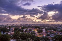 Olinda and Recife in Brazil - Aerial view of the cities of Olinda and Recife in the state of Pernambuco, Brazil at sunset.
