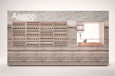 Store concept for Aesop - Copenhagen, Denmark. We were involved in concept development. Main materials were earth, concrete and plywood. Fur, copper and stained oak. Proposal made in December 2012 - not built. Retail Store Design, Retail Shop, Commercial Interior Design, Commercial Interiors, Aesop Shop, Pharmacy Design, Perfume Store, Cosmetic Shop, Retail Merchandising