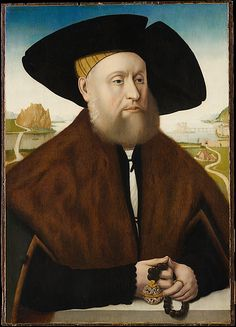 Philipp von Rhein zum Mohren  Portrait of a Member of the vom Rhein Family Copy after Conrad Faber von Creuznach   Date: late 1520s Medium:Oil and gold on wood Dimensions:     Overall 21 3/4 x 15 5/8 in. (55.2 x 39.7 cm); painted surface 21 1/2 x 15 in. (54.6 x 38.1 cm) Classification:     Paintings Credit Line:     The Jack and Belle Linsky Collection, 1982 Accession Number:     1982.60.37  This artwork is currently on display in Gallery 537 (MET)