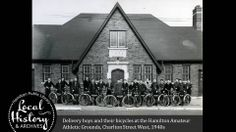 Delivery boys and their bicycles on Charlton Ave West. at the Hamilton Amateur Athletics Grounds. Hamilton Ontario Canada, The Province, Athletics, New Pictures, Bicycles, 1940s, Delivery, Boys, Vintage