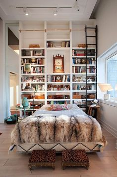 Incredible bookshelf that reaches all the way up to the high ceilings