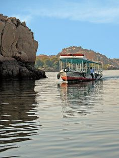 Water taxi to the island of Philae and the Temple Complex. Aswan, Egypt