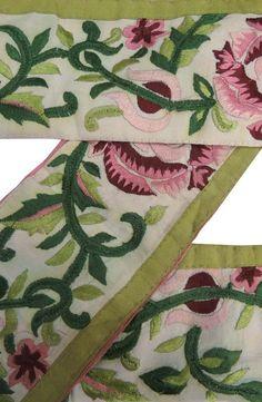 Au Lot Pure Silk Vintage Sari Remnant Fabric 7 Pcs 1 Ft Green Orange #abmap Other Antique Table Linens
