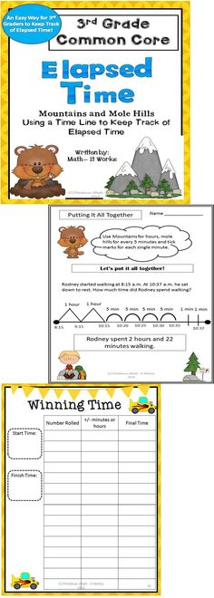 Master elapsed time with this supplemental unit on elapsed time. Students find elapsed time to the minute using a time line. If students can count by fives, this method is easy!